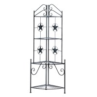 Tall Corner Shelf with Fanned Shelves and Star Details